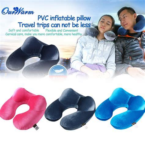 The Luxe Travel Pillow U Neck Blue velvet fabric neck air pillow u shaped cushion outdoor travel portable pillow