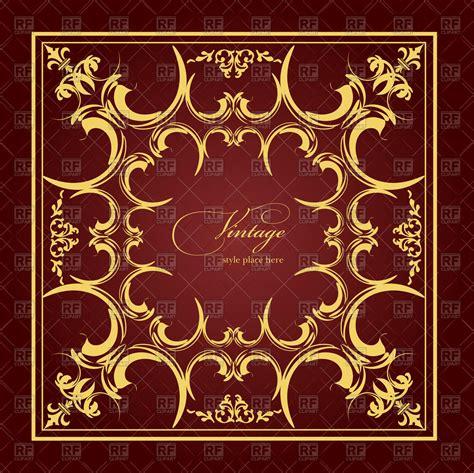 Wedding Album Cover Design Vector by Square Frame With Vintage Ornament Wedding Album