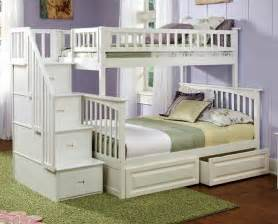 white twin bunk beds with storage and full staircase