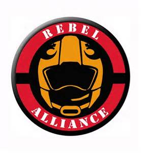 Images of star wars rebel alliance logo and helmet button