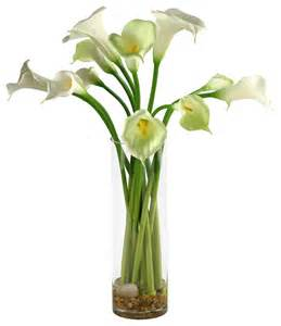 Tall Lily Vase Arrangements D Amp W Silks Calla Lilies In Tall Glass Vase Contemporary