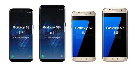 Samsung Galaxy S8 and Galaxy S8  size comparison
