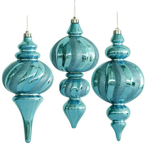 vickerman 28954 10 quot turquoise finial assorted christmas