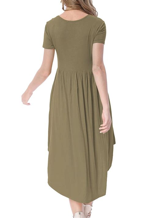 casual swing dress hot army green short sleeve high low pleated casual swing