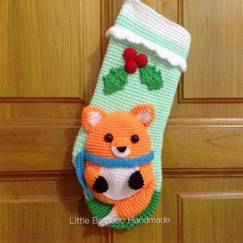 pattern for little christmas stocking little fox christmas stocking crochet pattern