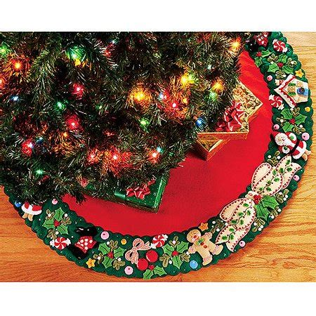 tree skirts walmart engelbreit wreath tree skirt felt applique kit 42 quot walmart