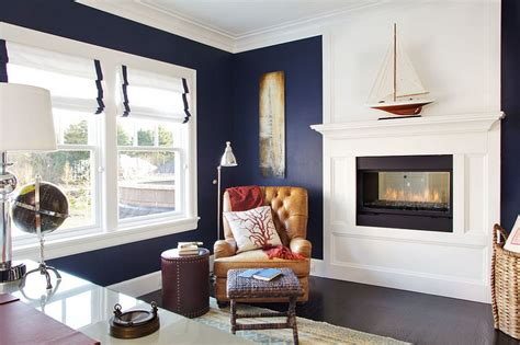 style home office in navy blue and white design