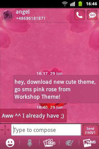 cute themes go sms go sms theme pink rose cute android apps on google play