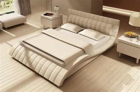 Lits Design Italien by Lit Design En Cuir Italien De Luxe Belia Blanc Mobilier