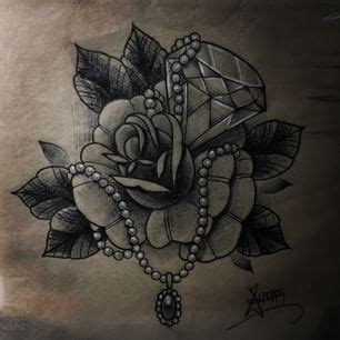 rose and pearl tattoo pearls and diamonds search tattoos