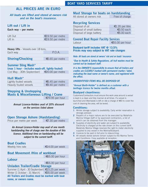 boatyard prices malahide marina boatyard