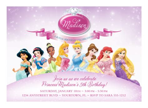 free disney princess birthday invitations printable