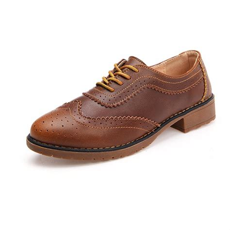 genuine leather brogue oxfords s genuine leather lace up formal wingtip