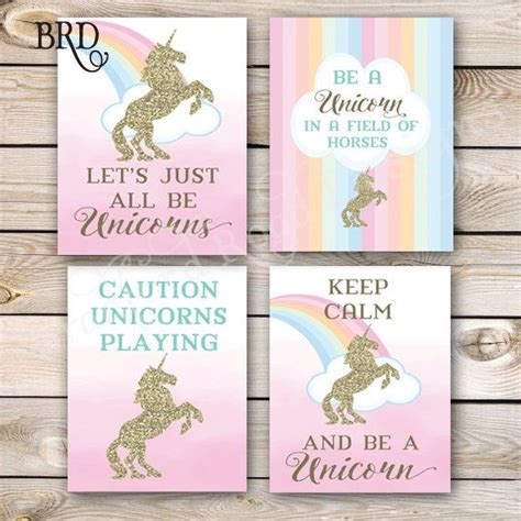 printable unicorn signs unicorn party sign set of 4 8x10 instant download unicorn