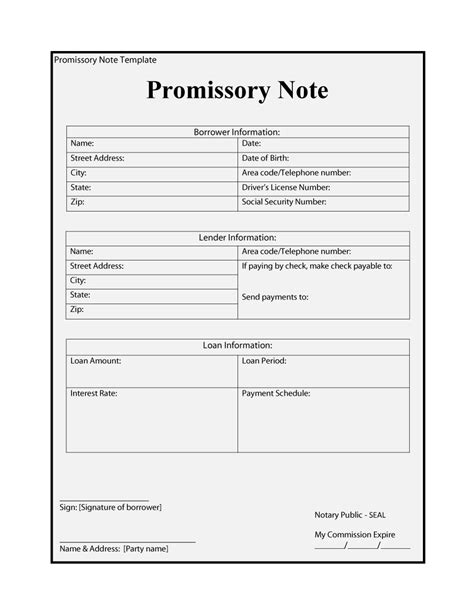 personal note cards template promissory note template free business template