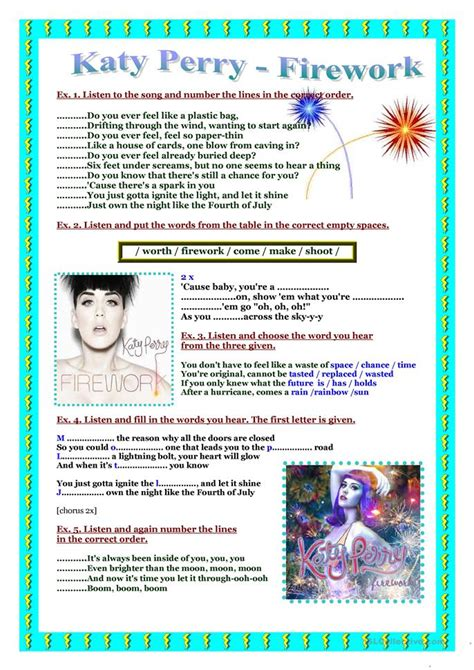 s day song esl song worksheet katy perry firework worksheet free esl