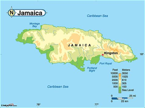 physical map of jamaica jamaica physical map by maps from maps world s