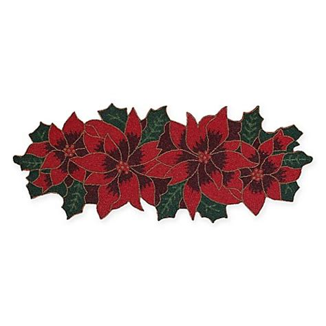 thro poinsettia 36 inch beaded table runner in red green