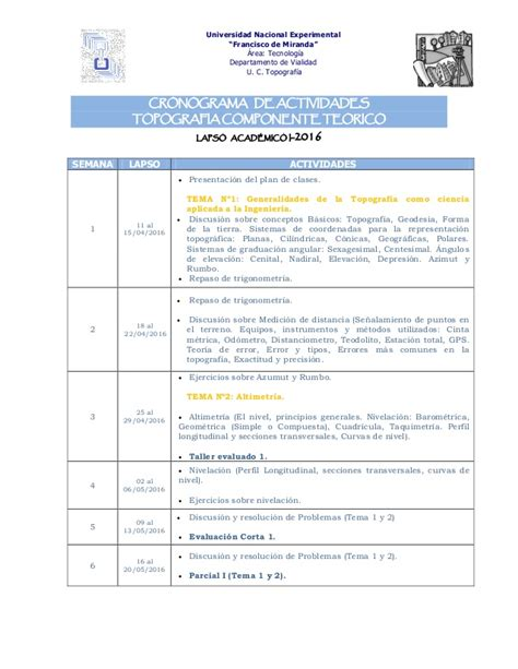 guia para calculo arrendador 2016 cronograma topografia i 2016 para publicar en blog