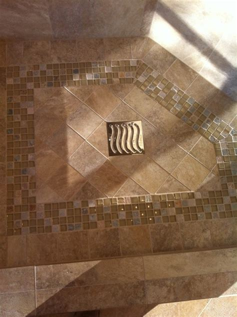 tile shower floor with mosaic design bathroom other metro by tile design center