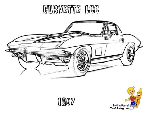 Gusto Car Coloring Pages Porsche Corvette Free Free Printable Coloring Pages For Children L
