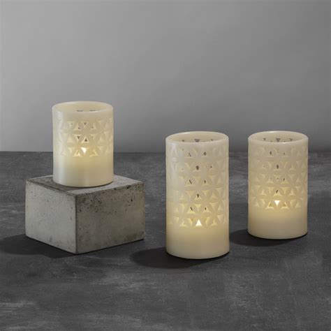 hurricane ls with flameless real wax flameless with timer set of 6 ivory led