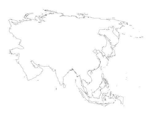 Asia Rivers Outline Map by Blank Map Of Asia Printable