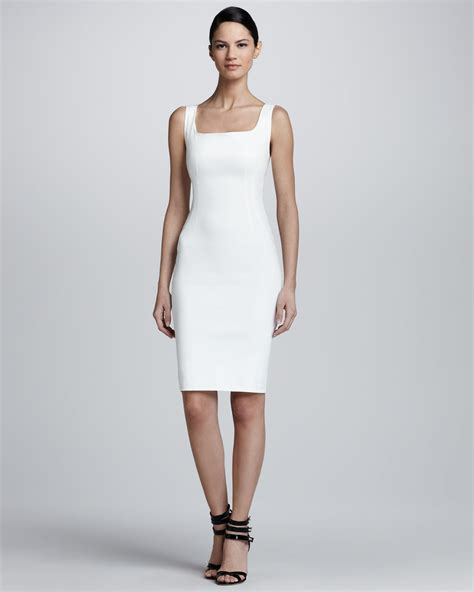 Lyst   Lanvin Sleeveless Squareneck Sheath Dress in White