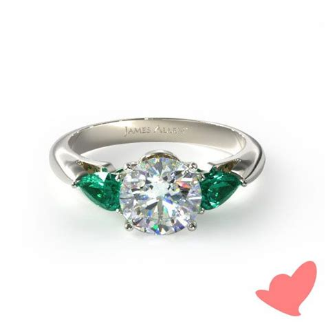 14k white gold three pear shaped emerald engagement