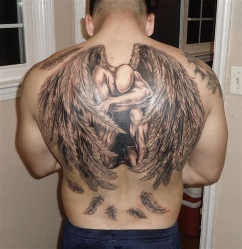 angel wings back tattoo black and grey guardian wings religouse on