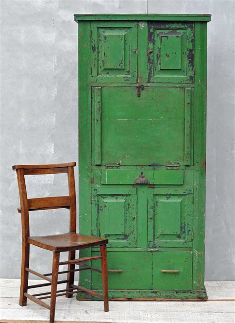 Vintage Cabinet by Rustic Vintage Bureau Cabinet Original Green Paintwork