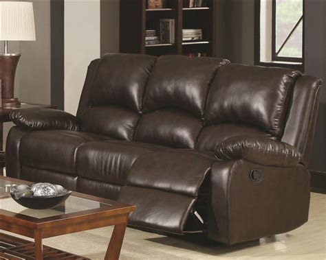 Boston Upholstery by Boston Reclining Sofa In Brown Leather Like Vinyl Upholstery By Coaster 600971