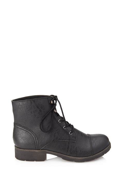 forever 21 shoes boots forever 21 textured faux leather hiking boots in black