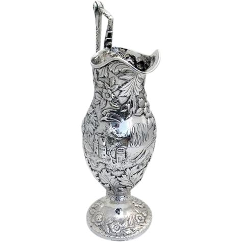 Ruby Sbr 50 castle ram pitcher repousse sterling silver 1860 from