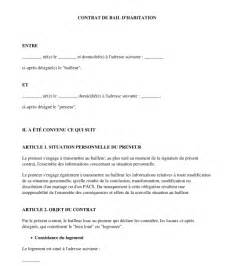 exemple de contrat type de location mod 232 le de bail word