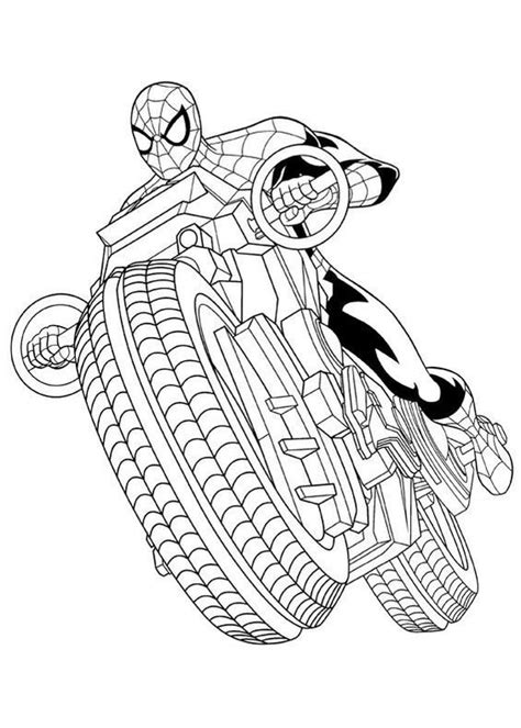 coloring page ultimate spider man spider man motor