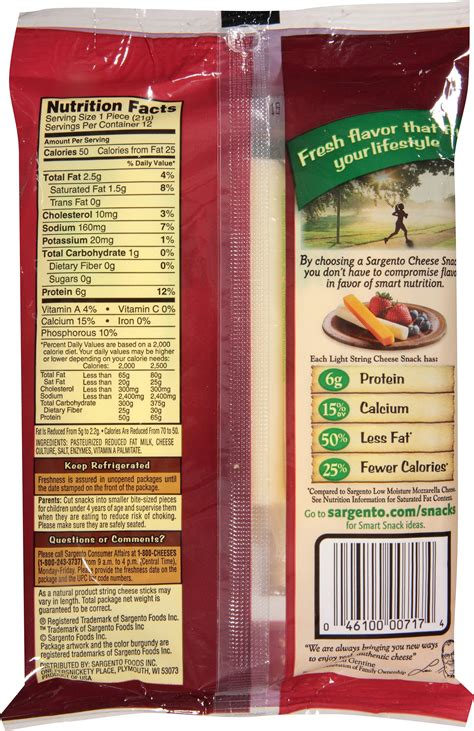 Nutritional Information String Cheese Nutrition Ftempo Light String Cheese Calories