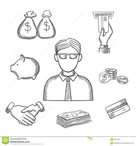 design icon in sketch banker money and finance sketch icons stock vector