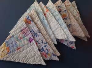 Patchwork Bunting - 10 vintage quilt triangles for craft patchwork bunting