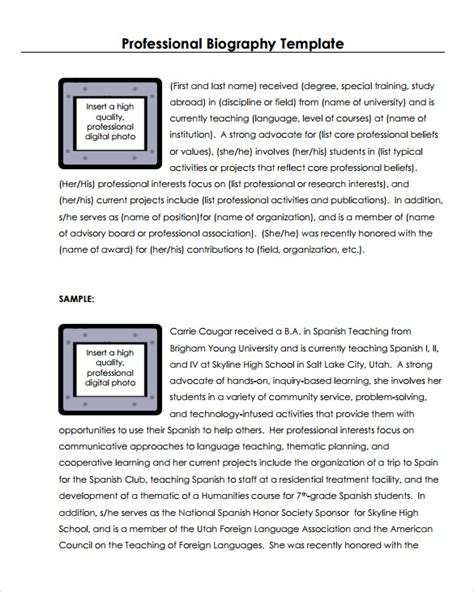 design biography exle personal biography layout sle biography 6 exle format