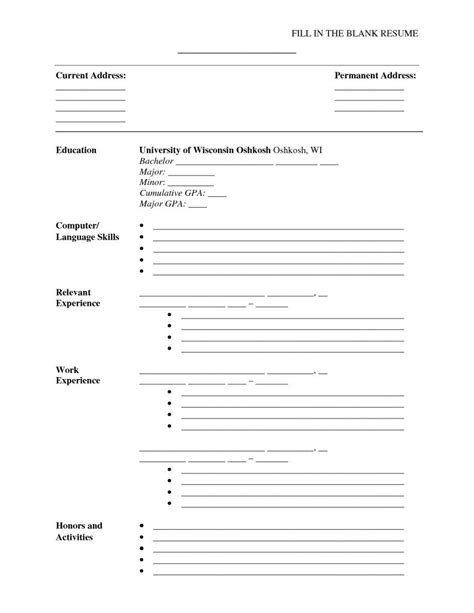 Fill In The Blank Resume Forms by Blank Resume Form To Fill Out