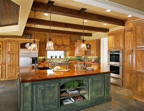 faux finish cabinets kitchen rustic with wood countertops
