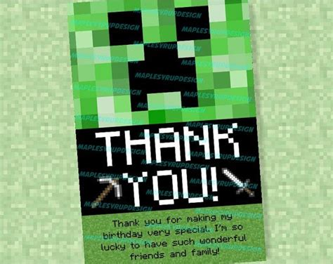 minecraft printable thank you cards minecraft thank you cards party time pinterest