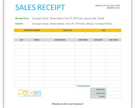 sales receipt template images