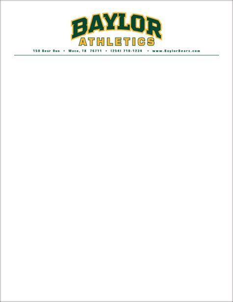 College Letterheads Stationery Graphic Standards Baylor