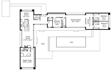 Too Big But I Like The Open Space For The Kitchen Living L Shaped Floor Plans With Pool