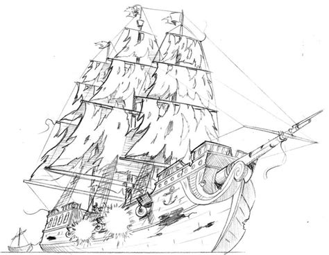 how to draw a boat coming towards you drawn sailing ship ghost pencil and in color drawn