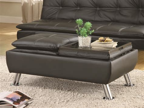 Coaster 300283 Black Faux Leather Storage Ottoman Leather Tray Top Storage Ottoman