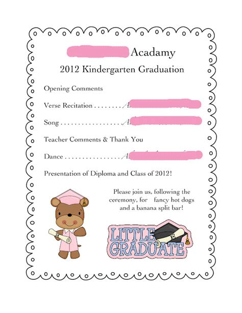 preschool graduation program templates free preschool graduation program templates free 28 images