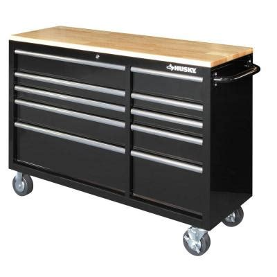 Husky 52 In 10 Drawer Clear View Mobile Workbench With by Husky 52 In 10 Drawer Mobile Workbench With Solid Wood